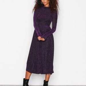 Nly Trend Sparkling Polo Dress Loose Fit Mekko Musta / Violetti