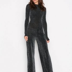 Nly Trend Sparkling Polo Jumpsuit Musta