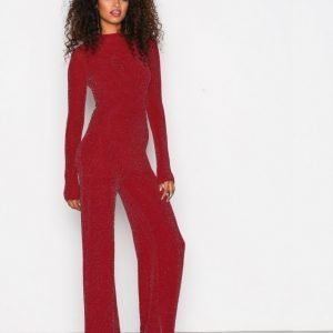 Nly Trend Sparkling Polo Jumpsuit Punainen