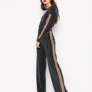Nly Trend Sporty Lurex Stripe Set Jumpsuit Musta