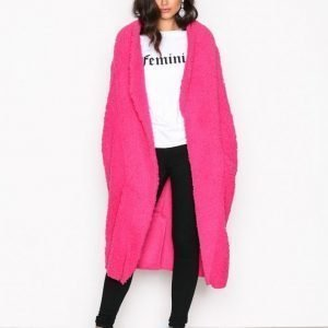 Nly Trend Teddy Maxi Jacket Tekoturkki Bright Pink