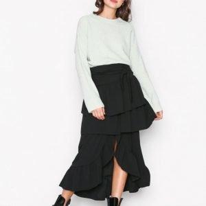 Nly Trend Volume Frill Skirt Midihame Musta
