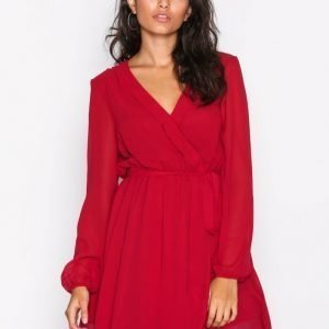 Nly Trend Wrapped Dress Skater Mekko Punainen
