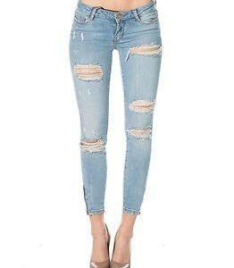 Noisy may Eve Ancle Zip Jeans Light Blue Denim