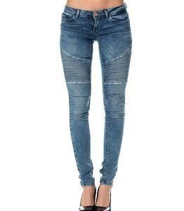 Noisy may Eve Supslim Biker Jeans Dark Blue Denim