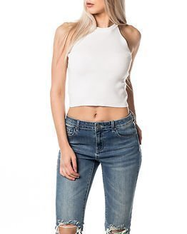 Noisy may Lizzy Zip Cropped Knit Top Snow White