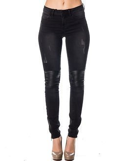 Noisy may Lucy NW Slim PU Knee Patch Jeans Black