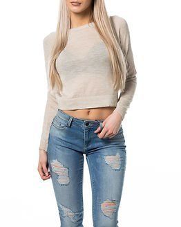 Noisy may Pilou Cropped O-Neck Knit Top Snow White