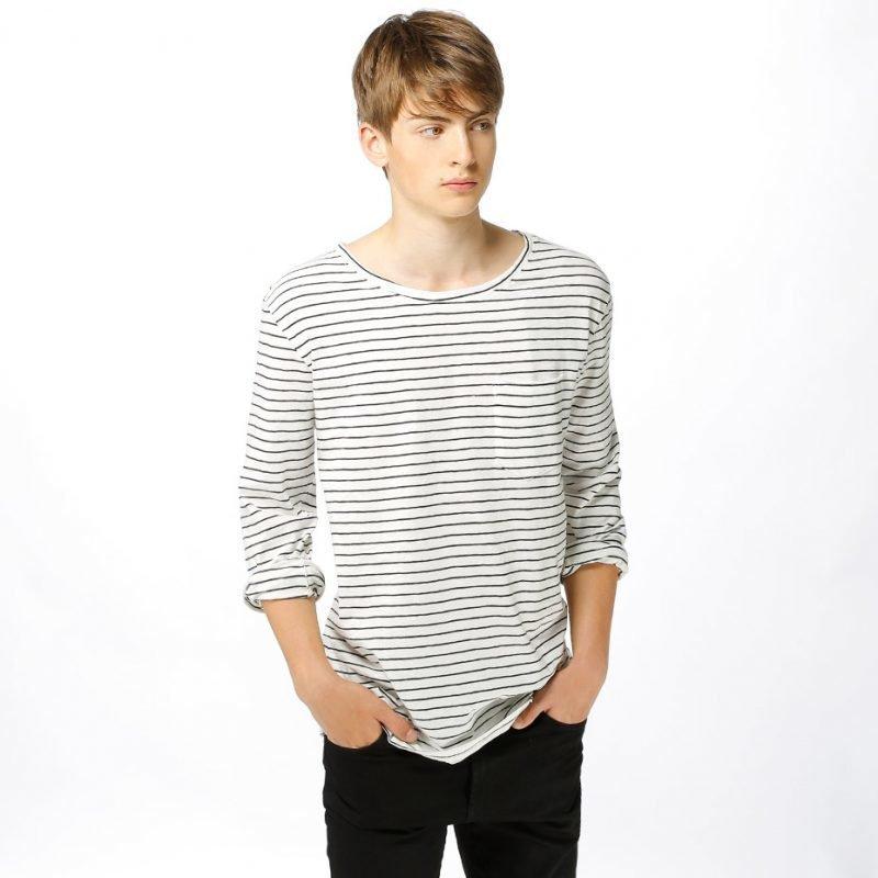Nudie Jeans Orvar Pocket Graphic Stripe -longsleeve
