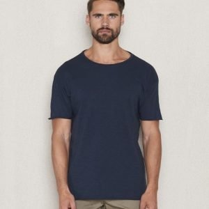 Nudie Jeans Raw Hem T-Shirt Mid Blue
