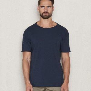 Nudie Jeans Raw Hem T-Shirt Mid Blue