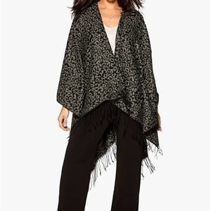 ONLY Agatha Weaved Leo Poncho Charcoal Gray
