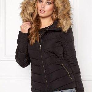 ONLY Ellan Quilted Hood Fur Black