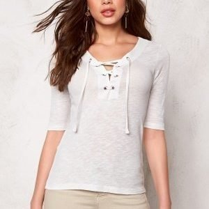 ONLY Freja Lace up 2/4 Top Cloud Dancer