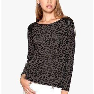 ONLY Leopard L/S Pullover Dark Grey Melange
