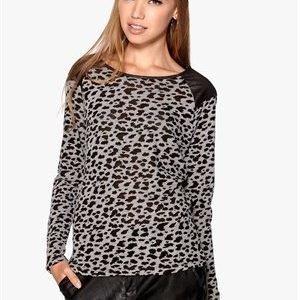 ONLY Leopard L/S Pullover Light Grey Melange