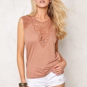 ONLY Lindsey S/L Crochet Top Mocha Mousse