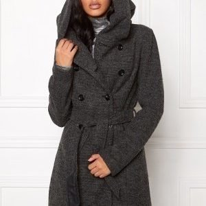 ONLY Lisa Long Wool Coat Dark Grey Melange