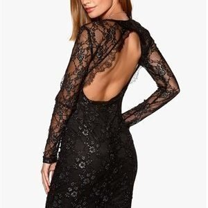 ONLY Lise Lace L/S Dress Black/dark silver