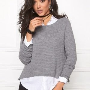 ONLY New Tessa Zip Pullover Light Grey Melange
