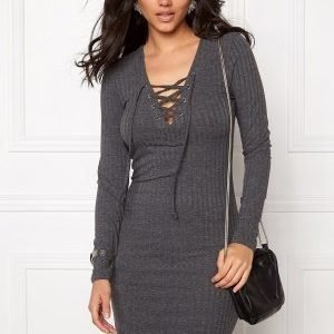 ONLY Rikki L/S Lace Up Dress Dark Grey Melange