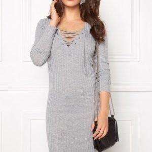 ONLY Rikki L/S Lace Up Dress Light grey/Melange
