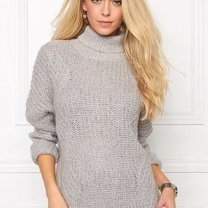 Object Alisja L/S Rollneck Knit Light Grey Melange