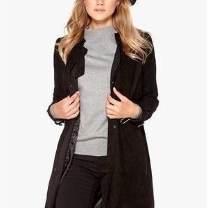 Object Aura Suede Trenchcoat Black