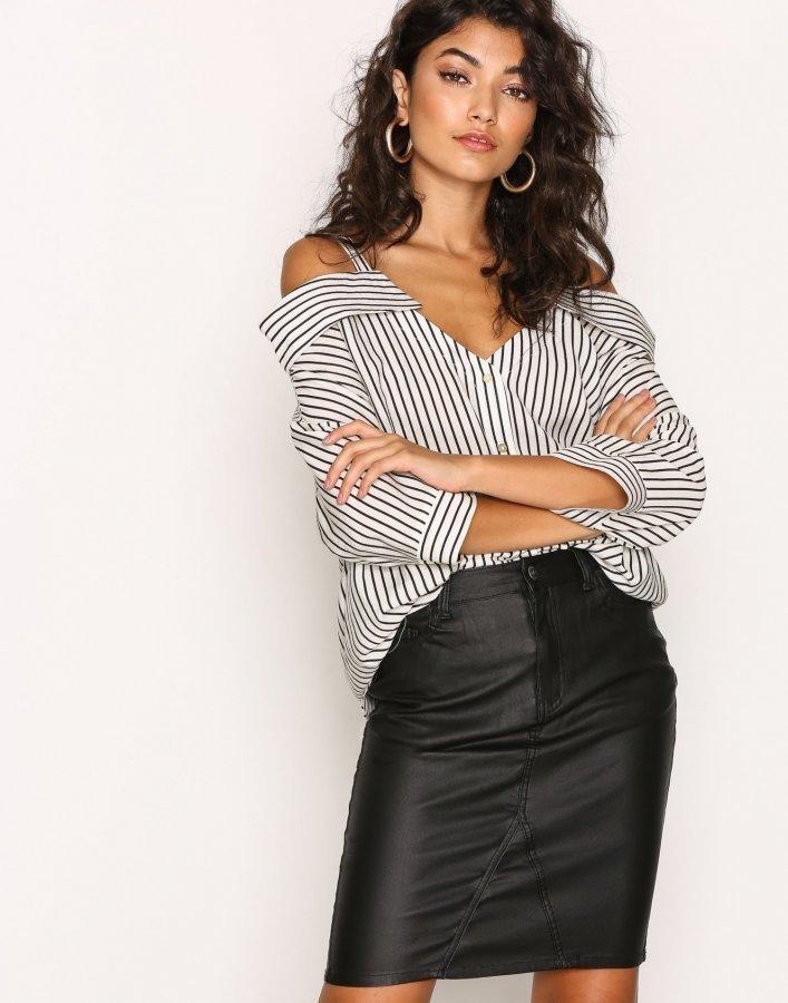 Object Collectors Item Objbelle Coated Skirt Noos Midihame Musta