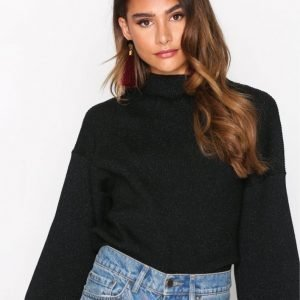 Object Collectors Item Objindra T-Neck Knit Lurex Pullover Neulepusero Musta