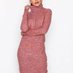Object Collectors Item Objnete L / S Knit Dress .C Div Pitkähihainen Mekko Vaaleanpunainen