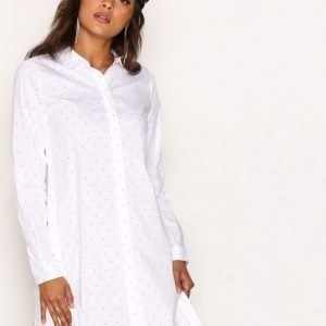 Object Collectors Item Objpoplin L / S Shirt Dress Pb2 Loose Fit Mekko Valkoinen / Pilkullinen