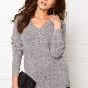 Object Ebbie L/S knit pullover Light grey melange