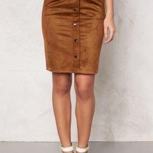 Object Emma Faux Suede Skirt Cognac