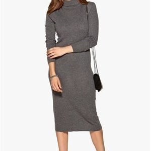 Object Iben L/S Long Dress Dark Grey Melange