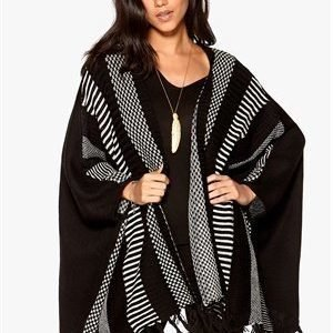 Object Perry L/S Knit Poncho Black