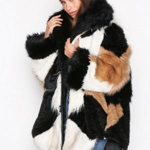One Teaspoon Heartshaker Faux Fur Jacket Tekoturkki Black / White