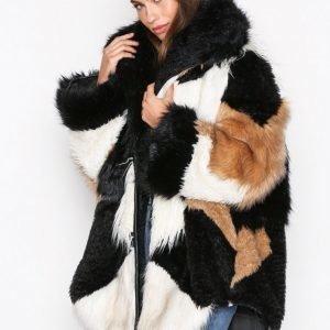One Teaspoon Heartshaker Faux Fur Jacket Tekoturkki Black / White