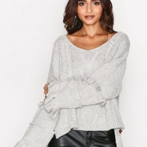 One Teaspoon Jethro Fringed Knit Sweater Neulepusero Grey