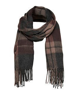 Only Allie Weaved Check Scarf Deep Taupe
