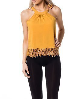 Only Audrey Tie Cropped Top Spruce Yellow