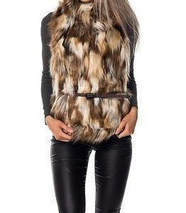 Only Augusta Patched Fur Waistcoat Rubber