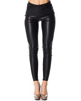 Only Best Faux Leather Ancle Leggins Black