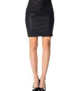 Only Celina Faux Leather Midi Skirt Black