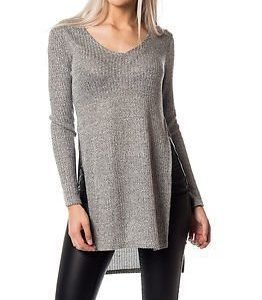 Only Dhaka Long Slit Pullover Medium Grey Melange