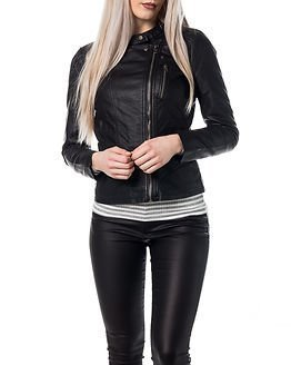Only Freya Faux Leather Biker Black
