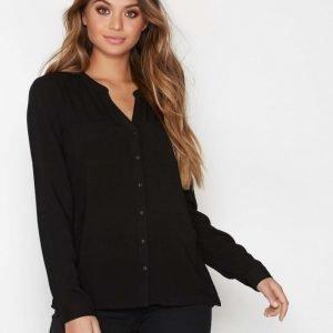Only Onlfirst Ls Pocket Shirt Noos Wvn Arkipaita Musta