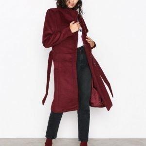 Only Onlmary Long Wool Coat Otw Pitkä Takki Tummanpunainen