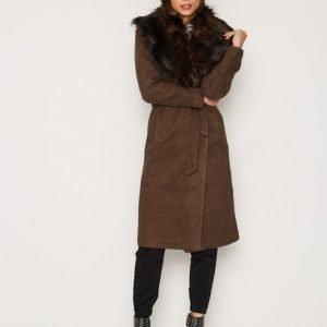 Only Onlnew Scoop Drapy Fur Coat Otw Pitkä Takki Ruskea