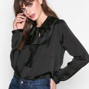 Only Onlsila L / S Ruffle Shirt Wvn Arkipaita Musta